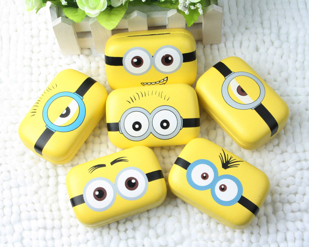 Hot Sale Minions Cartoon Contact Lens Case For Women Leather Hard Contact Lenses Box Cute Eyeglass Case Lens Container Christmas