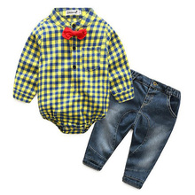 KEAIYOUHUO High Quality Spring Boys Clothes Sets Plaid+Jeans 2Pcs Gentleman Suit Children Clothing Sets Autumn Costume For Kids