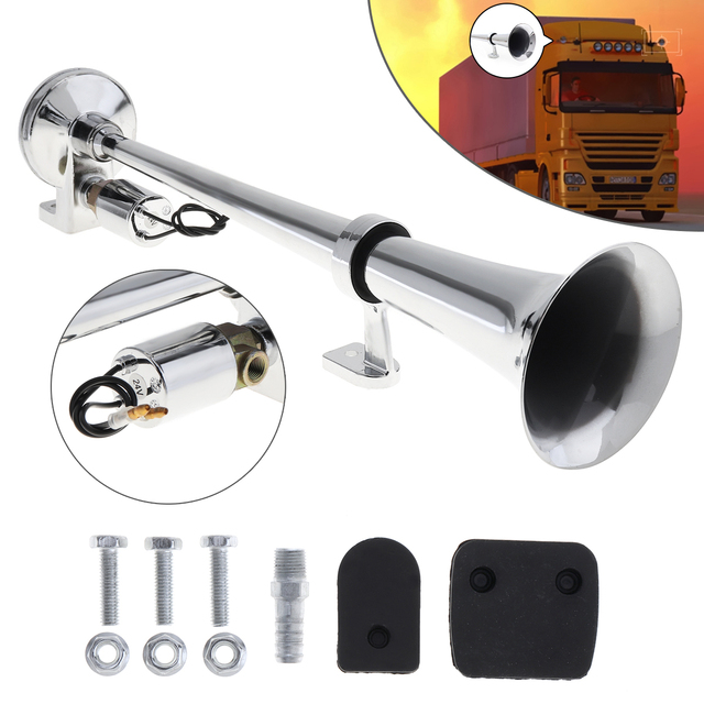 17 Inch 12V/24V 150dB Super Loud Single Trumpet Air Horn Compressor for Automobile Car Truck Boat Train Lorry