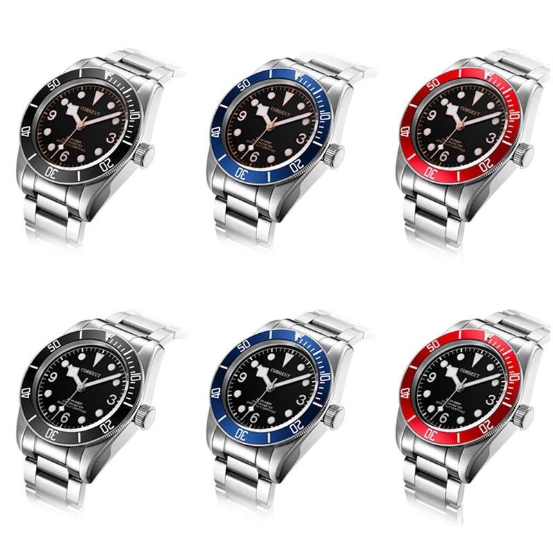 Corgeut 41 мм Мужские часы, сапфир Стекло ss браслет наручные часы Miyota 8215 движение развертывания пряжки часы CA2010C