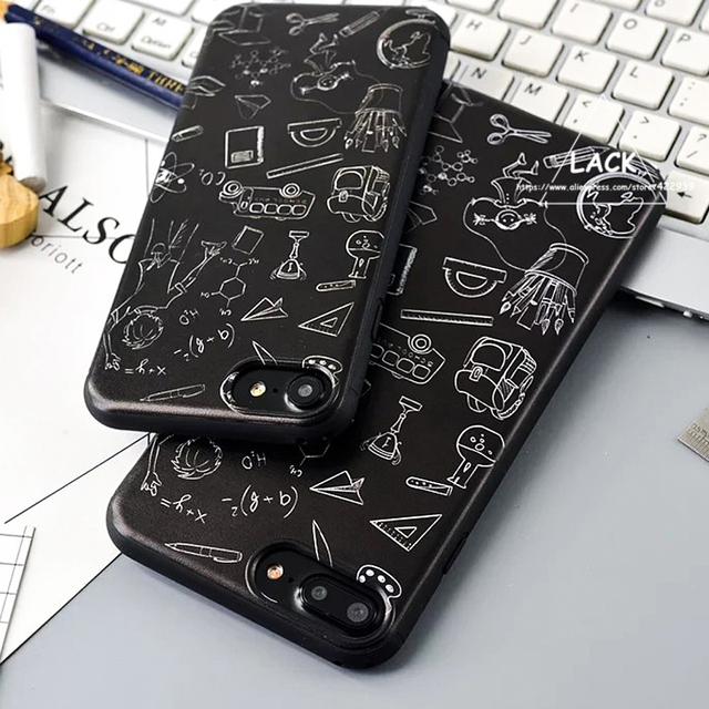 Moda geométrica caso caso dos desenhos animados para iphone 7 linda menina infância menino Padrão Casos de Telefone Tampa Traseira Para iphone7 6 6 S PLus