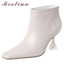 Meotina Autumn Genuine Leather Ankle Boots Women Cow  Leather Kitten High Heels Short Boots Square Toe Shoes Lady Big Size 33-43 недорого