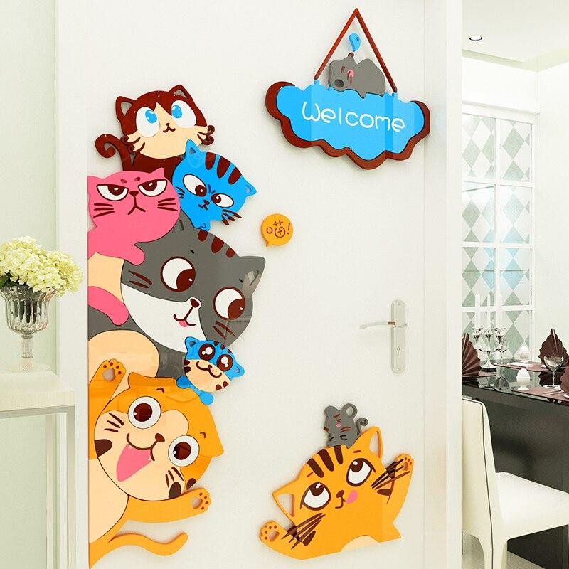 Dessin animé 3D acrylique Stickers muraux décor à la maison salon chat bienvenue enfants chambre porte autocollant bébé chambre maternelle décor