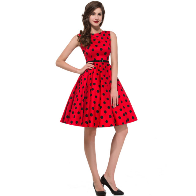 Online Shop Polka Dot Dress Plus Size Summer Autumn Vintage 50s