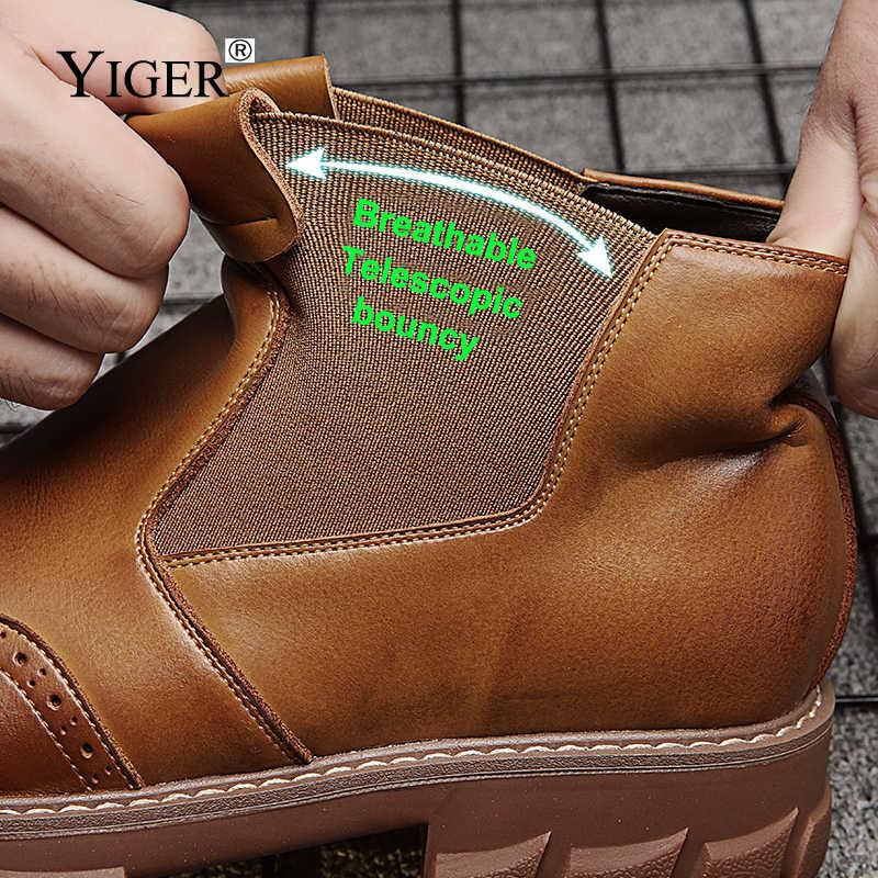YIGER/Новые мужские ботинки зимние ботильоны «Челси» мужские ботинки-дезерты из натуральной кожи без застежки теплые мужские ботинки Мартинс с Плюшевым Мехом 0202a