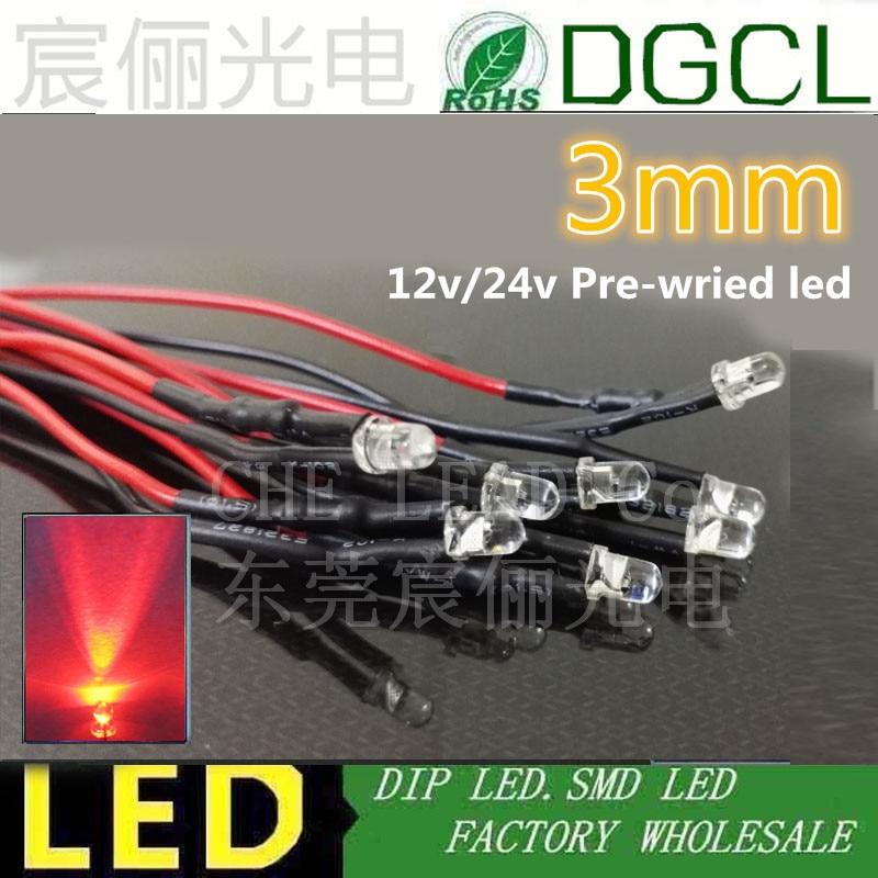 5-100X LED Lamp Light Bulb 18cm Pre Wired 5mm 24V DC Emitting Diode Super-Bright
