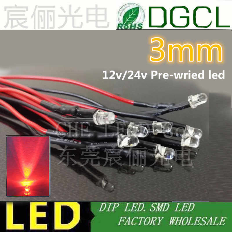 2x 3mm LED Round Wired 30cm LEDs Resistors 3mm