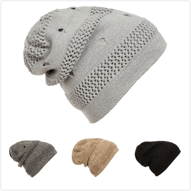 Grid Crochet Knitted Hats Winter Style Beanies Outdoor Warm Headwear Skullies Hiphop Caps for Men and Women