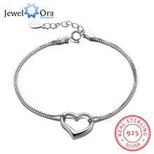 925 Pulseras de Plata de ley Para Las Mujeres Corazón Accessorise Ajustables Pulseras y Brazaletes Joyas de Moda (JewelOra BA101902)