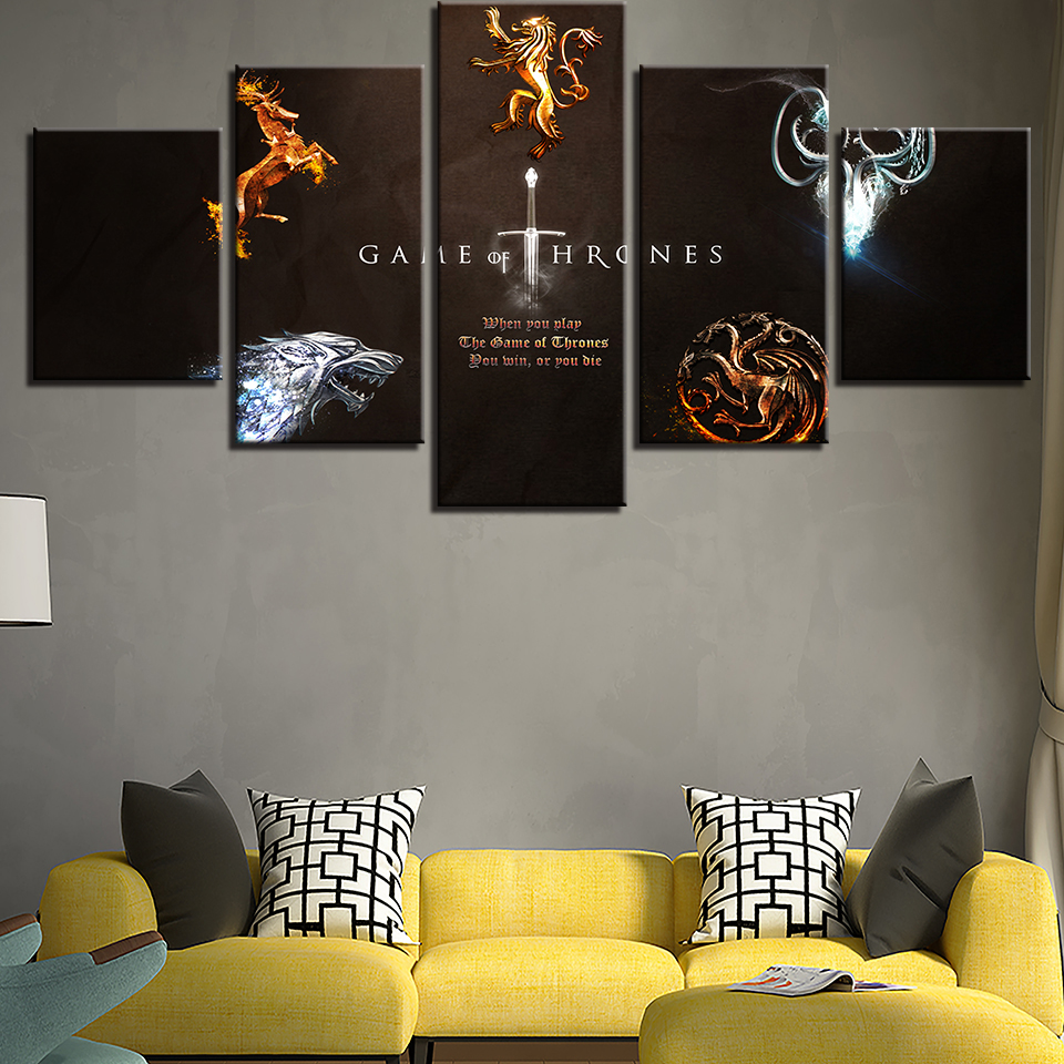 Modern living room wall art hd printed 5 pieces game - Modern wall decor for living room ...