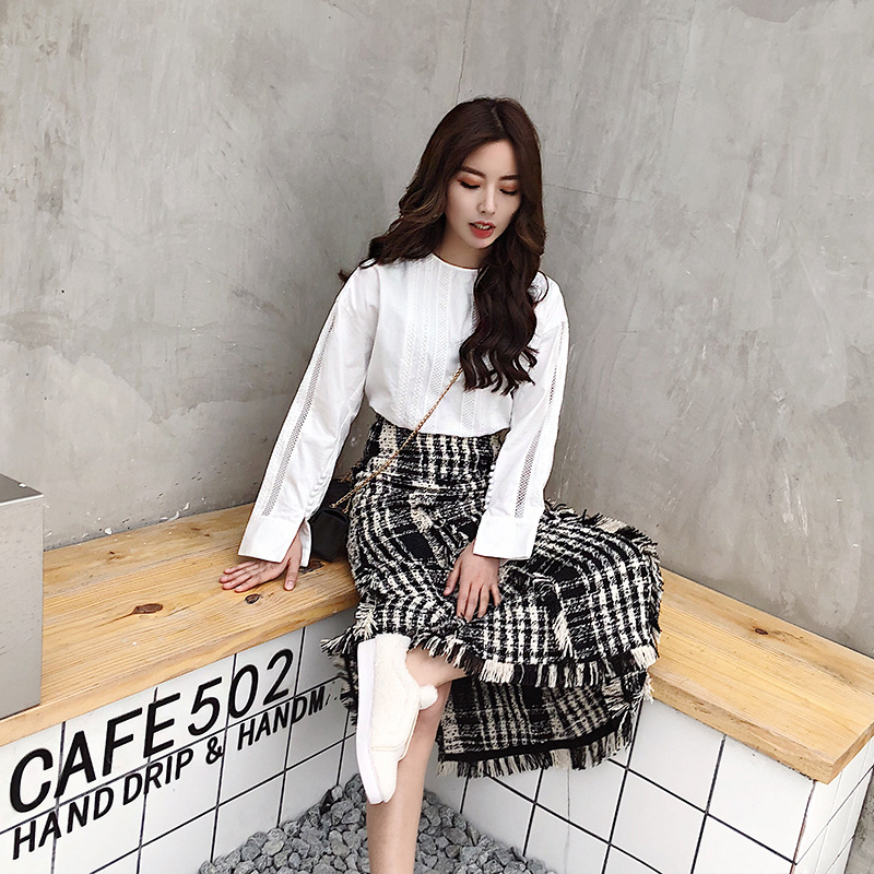Image 4 - LONG SKIRTS WOMEN GIRL SKIRT 2018 show thin tweed grid show legs long qiu dong irregular knitted long restoring ancient ways-in Skirts from Women's Clothing