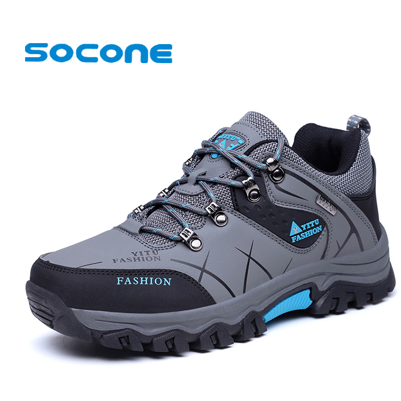 SOCONE Waterproof Mens Hiking Shoes Outdoor Trekking Shoes Men Camping Shoes Moutain non-slip Men's Hiking Sneakers Sport boots yin qi shi man winter outdoor shoes hiking camping trip high top hiking boots cow leather durable female plush warm outdoor boot
