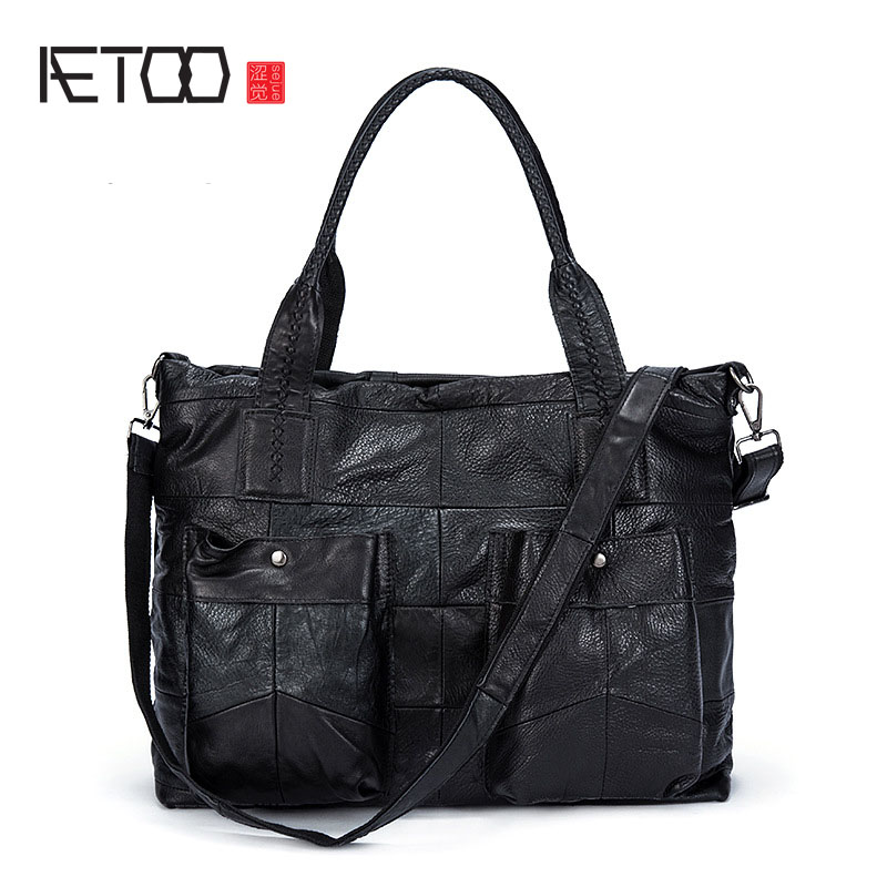 AETOO New female bag head layer of leather shoulder bag female simple fashion leather ladies bag handbag Messenger bag aetoo boston first layer of leather ladies handbag bag fashion simple simple large capacity handbags shoulder messenger bag