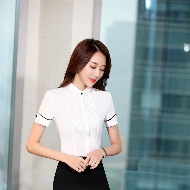 d1973699502440 Elegancki biały szczupła moda 2017 lato szyfon bluzki i koszule bluzka  biuro panie bluzki do pracy