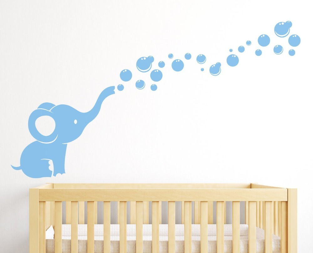 Elephant Bubbles Nursery Wall Decal Room Decor White in Wall Stickers from Home Garden