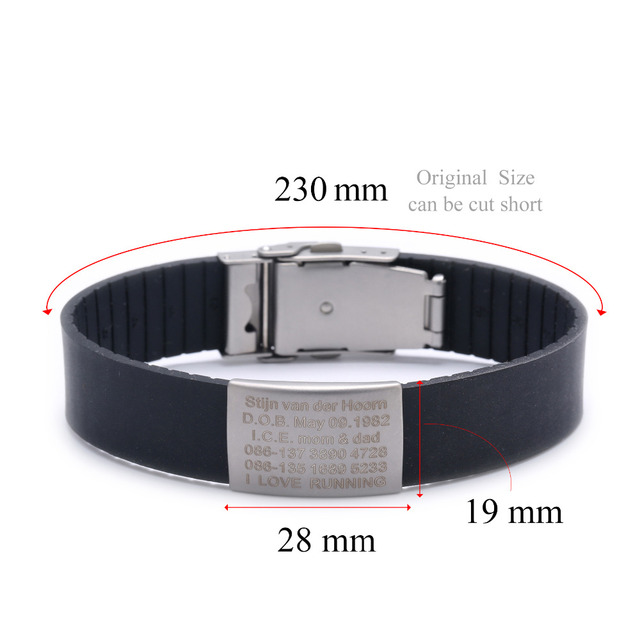 Silicone Custom Kids ID Bracelet Child Engraved Identification Bracelets Baby SOS Wrist Band Boys ID Safety Children Wristband