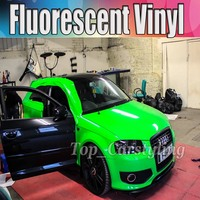 High Quality Green fluorescent Car Wrap Vinyl Film auto wrapping foil with Air bubble Free Car styling TUNING 1.52x20m 5x67ft