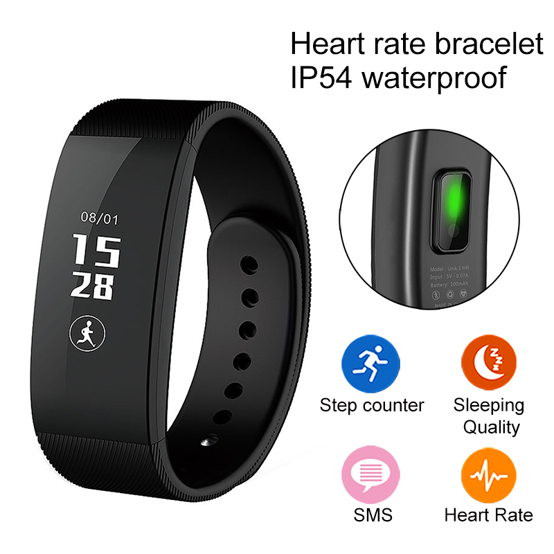 Waterproof U3 Bluetooth Smart Wristband Heart Rate Monitor Cicret Bracelet Fitness Tracker For Apple iPhone font