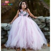 POSH DREAM Brand Girl Dress Princess Pink Flower Girl Dresses Beautiful Grey Pink Children Girl Flower Dresses for Girls 14year