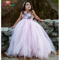 POSH DREAM Brand Girl Dress Princess Pink Flower Girl Dresses Beautiful Grey Pink Children Girl Flower Dresses for Girls 14year