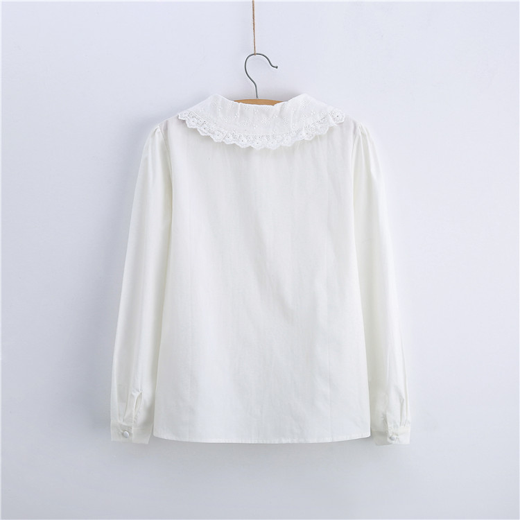 Cute Lace Blouse Peter Pan Collar Ruched White Blouse For Girls ...