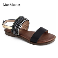 MaxMuxun Shoes Woman Falt Sandals Summer 2017 National Style Embroidery Causal Solid Buckle Ankle Strap Flat