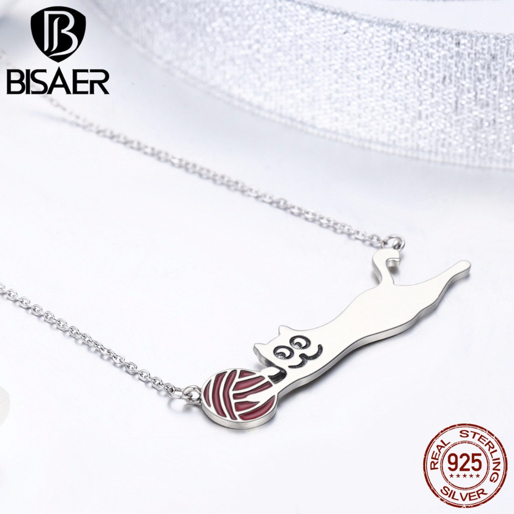 Authentic 925 Sterling Silver Cute Animal, Cat Play With Red Ball Necklaces & Pendants Naughty Cat Necklace Silver Fine Jewelry