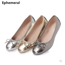 Female Flat Shoes Dancing For Women Ballroom Soft Bottom Low Cutter Slip-Ons With Bow Round Toe Silver Gold Plus Size 35 -41 39