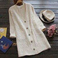 Spring Autumn Japanese Solid Deep V Collar Cute Jacquard Sweater Cardigan Women Long Sleeve Knitting Sweaters Tricot Coats U626