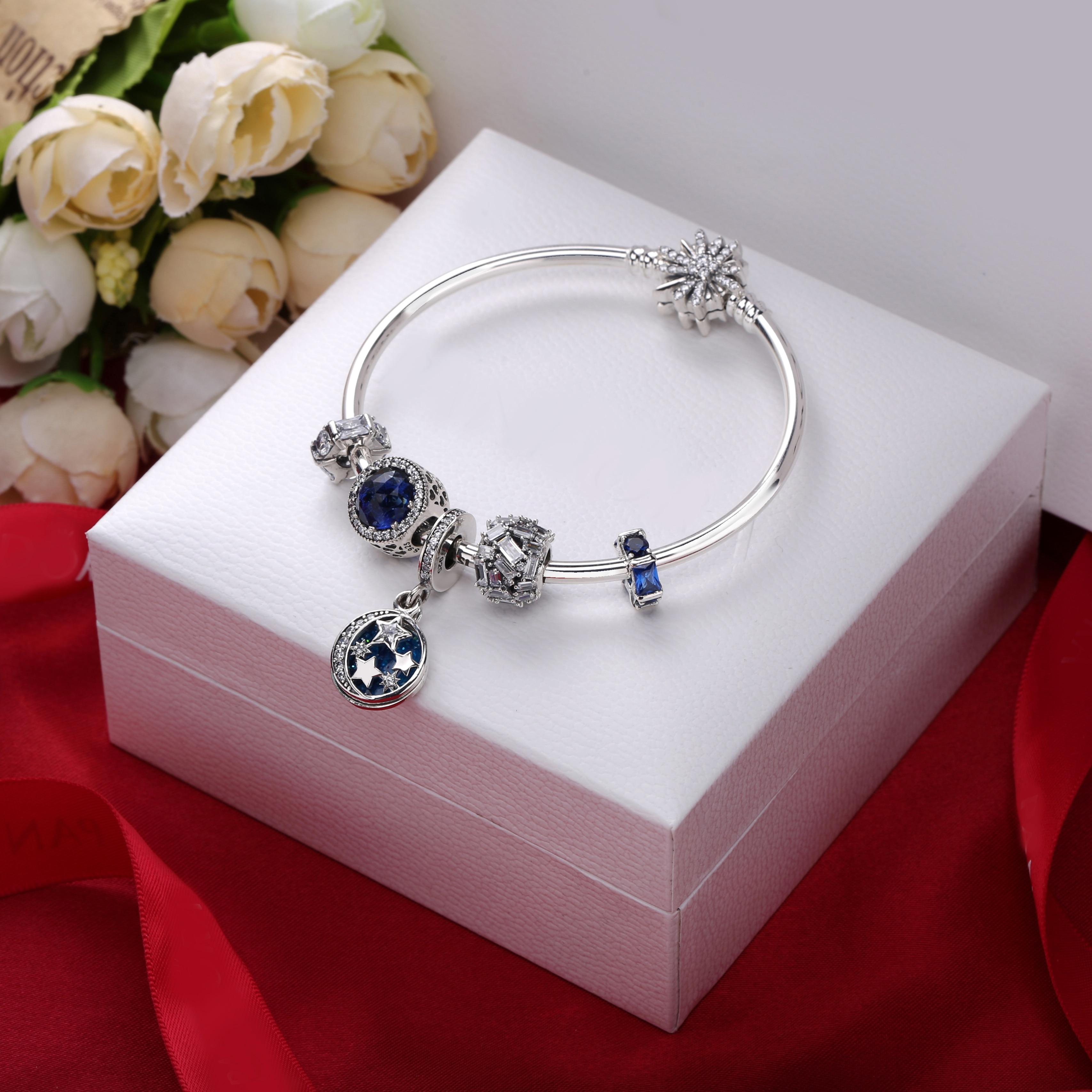 2019 gros Bracelet 100% 925 en argent Sterling noir et bleu cristal bracelets pour femme de mode