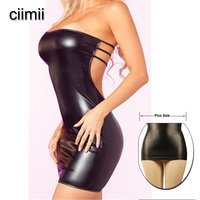 Women Sexy Lingerie Night Dress Female Sexy Nightwear Faux Leather Pole Dancing Sexy Product Lady Erotic