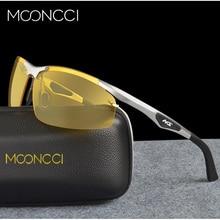 MOONCCI Rimless Yellow Glasses для ночного вождения Мужские солнцезащитные очки для ночного видения Мужчины Polarized Uv400 Высококачественные алюминиевые очки