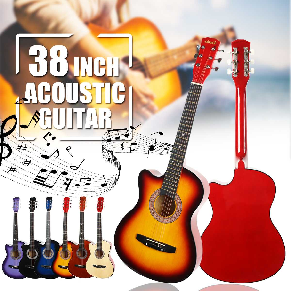38 pouces bois débutants guitare acoustique avec sangle de guitare choisir cordes en acier guitare Instruments de musique 6 couleurs