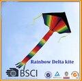 Envío de la alta calidad 2 m arco iris grande delta cometas cometas niños con mango línea cometa kite flying juguetes de aves fábrica