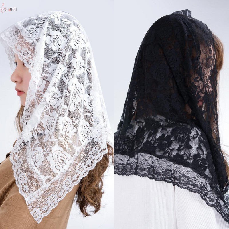 New White Black One Layer Lace Wedding Bridal Veil Blusher Face Veil Without Comb Lace Edge Wedding Accessories Voile Mariage