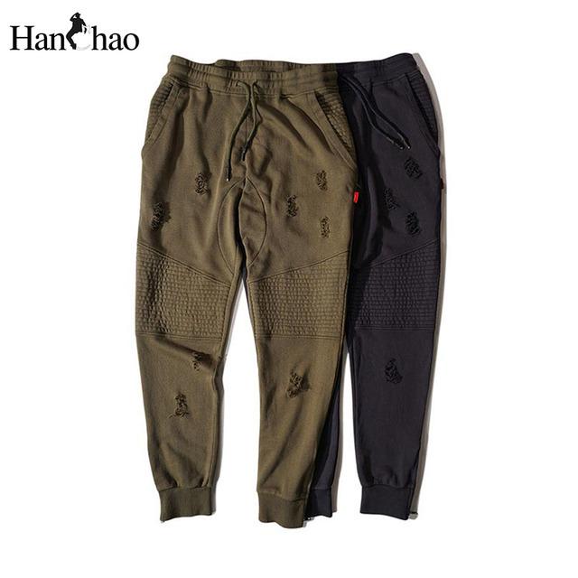 Material de terry rasgó los pantalones del harem hombres 2017 cordón elástico ocasional hip hop hombres pantalones para hombre pantalones deportivos de algodón verde azul