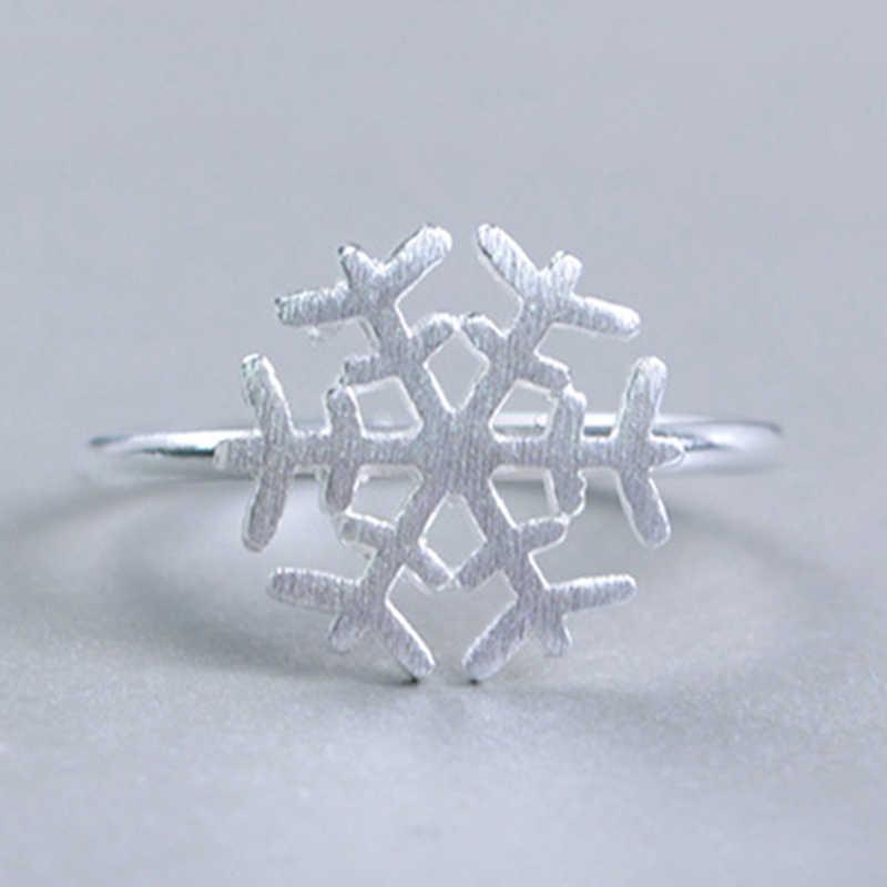แฟชั่น Matte เกล็ดหิมะแหวนเปิดหญิงปรับขนาดได้แหวนขายส่งอุปกรณ์เสริมสำหรับเด็กผู้หญิงเครื่องประดับคริสต์มาส 2019