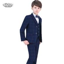 Chicos trajes para bodas niños Prom traje Blazers pantalones camisa corbata  4 piezas niños escuela ropa esmoquin fiesta de cumpl. 51087ee2dbf8