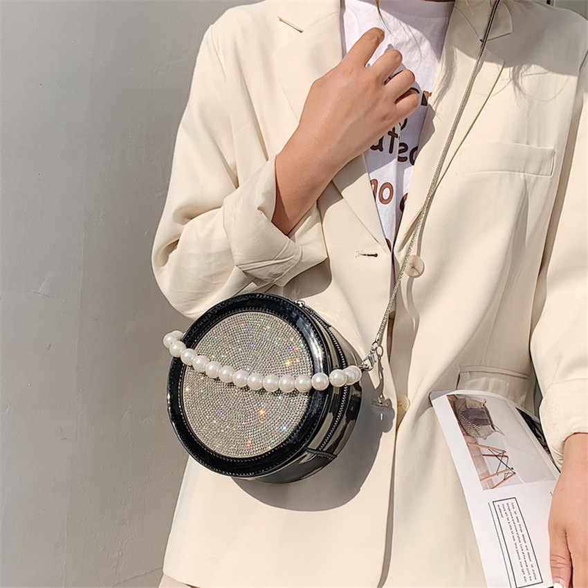 Toyooosky 2019 горячая Распродажа круговая сумка через плечо для женщин на молнии с блестками круглая сумка-мессенджер Женская ручка с бахромой Сумочка для вечеринок