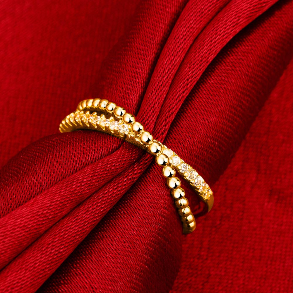 Bead Cross Finger Ring For Lady Fashion Creative Romantic Ring Luxury Letter X Cross CZ Rhinestone Wedding Rings for Women