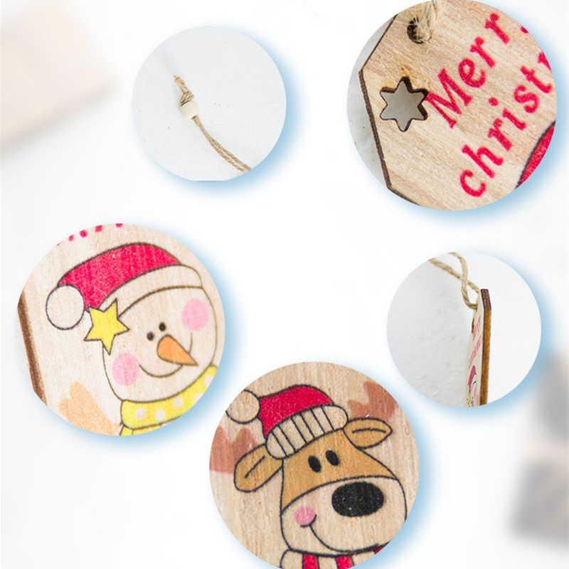 Feliz Navidad letra Santa Claus muñeco de nieve Elk colgantes de madera adornos árbol de Navidad ornamento para la decoración del Partido de Navidad del hogar