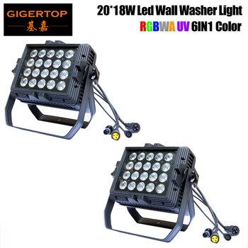 2 adet/grup 20x18 W RGBWA UV 6IN1 led duvar Yıkayıcı Işık 2018 Yeni Tasarlanmış RGBWA + mor led duvar Yıkayıcı açık Led projektör