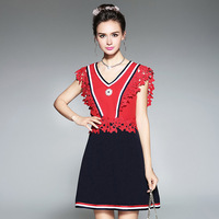 RYTISLO Embroidery Lace Brand Women Summer Dress Fashion Striped Patchwork Elegant Lady Daily Dress Red Color
