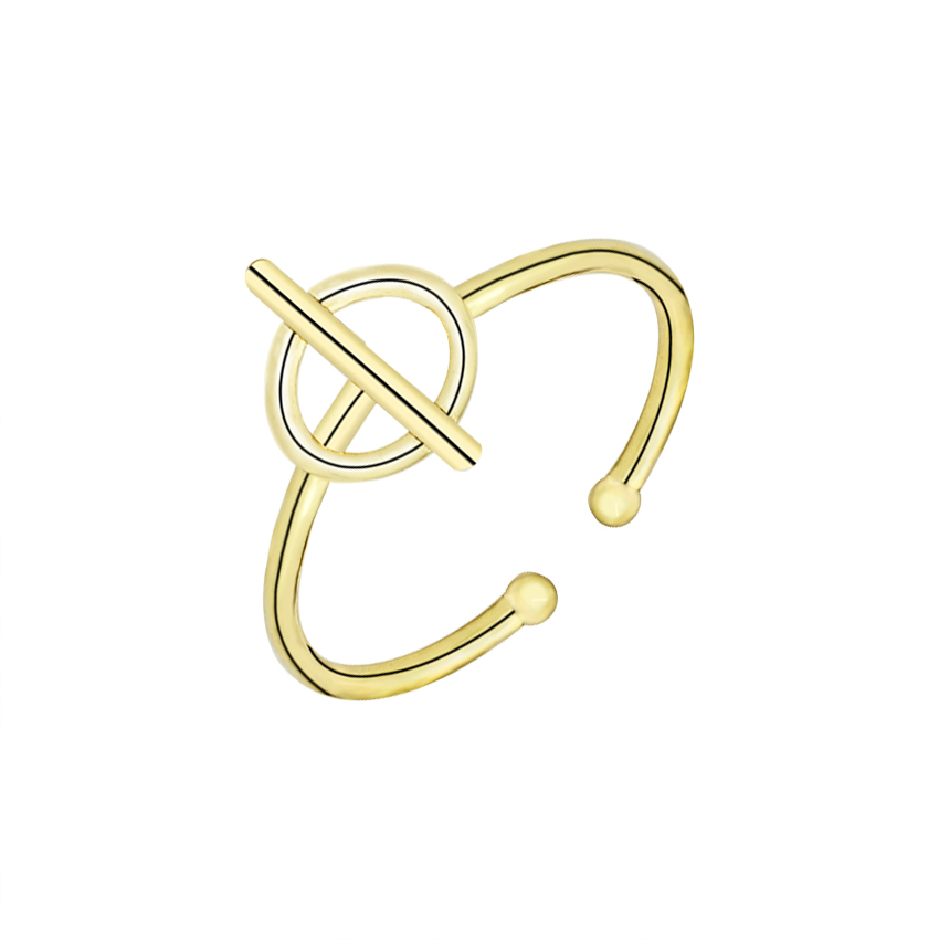Geometric Empty Round Knuckle Rings For Women Men Jewelry Gold Silver Adjustable Piercing Circle Cross Long Bar Finger Rings