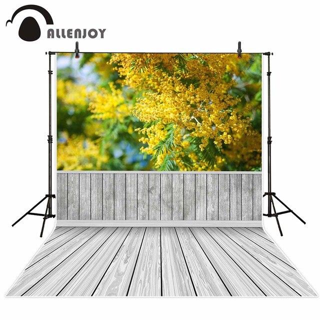 Allenjoy amarillo flores piso de madera fondo de primavera para ...