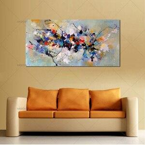 Image 4 - Лучшая новинка, картина, абстрактные Масляные картины на холсте, 100% ручная работа, цветной холст, современное искусство для домашнего декора стен