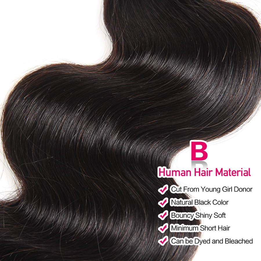Beautiful Princess Hair 3 Bundles Peruvian Body Wave With Lace Closure Double Weft Remy Human Hair Bundles With Closure