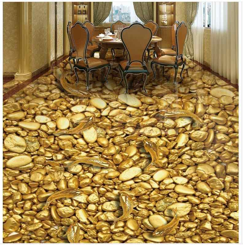Floor Painting 3D Wallpaper Gold Fish Gold Stone 3D Floor PVC Floor Sticker Painting Murals Modern Custom 3D Floor Mural