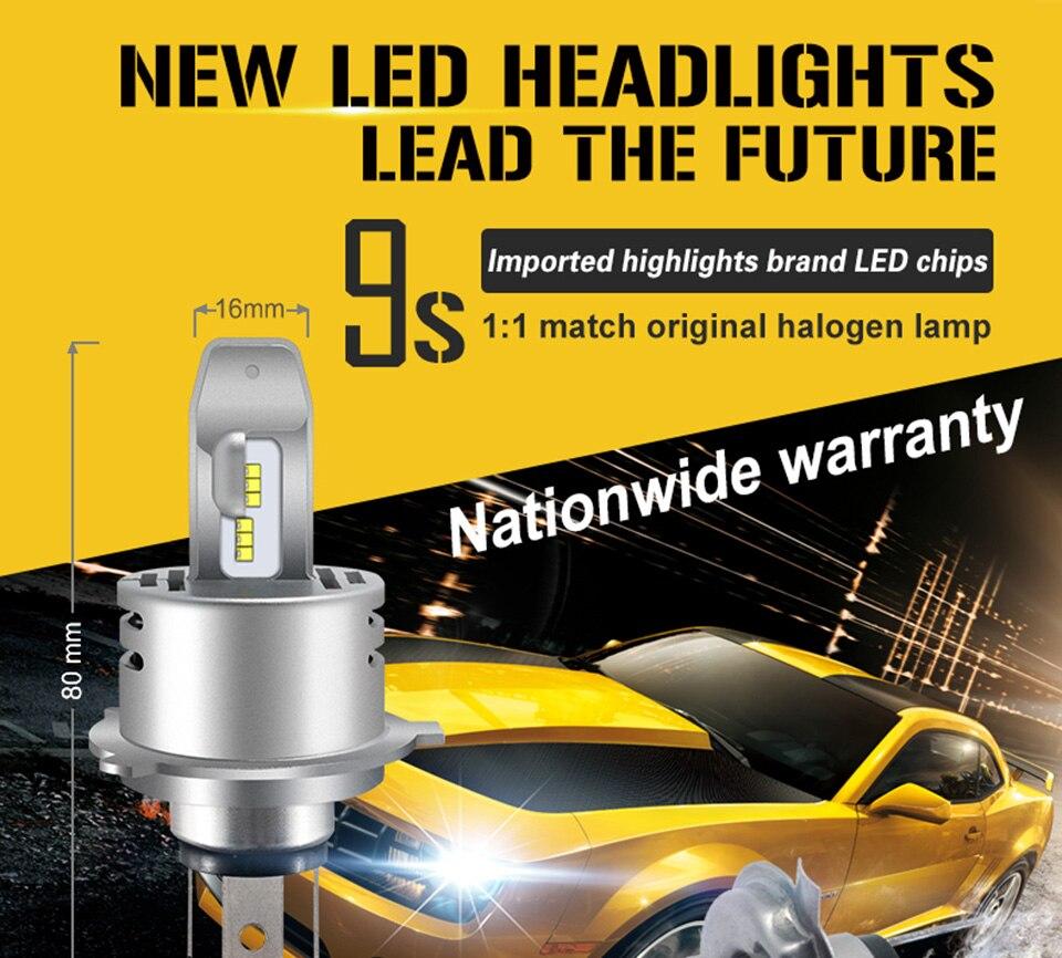 High End 9S 12V H4 P43T High/Low LED Auto Car HeadLight Vehicle Lighting 80W ZES LED Chips 6500K 1:1 Match Original HalogenLamp