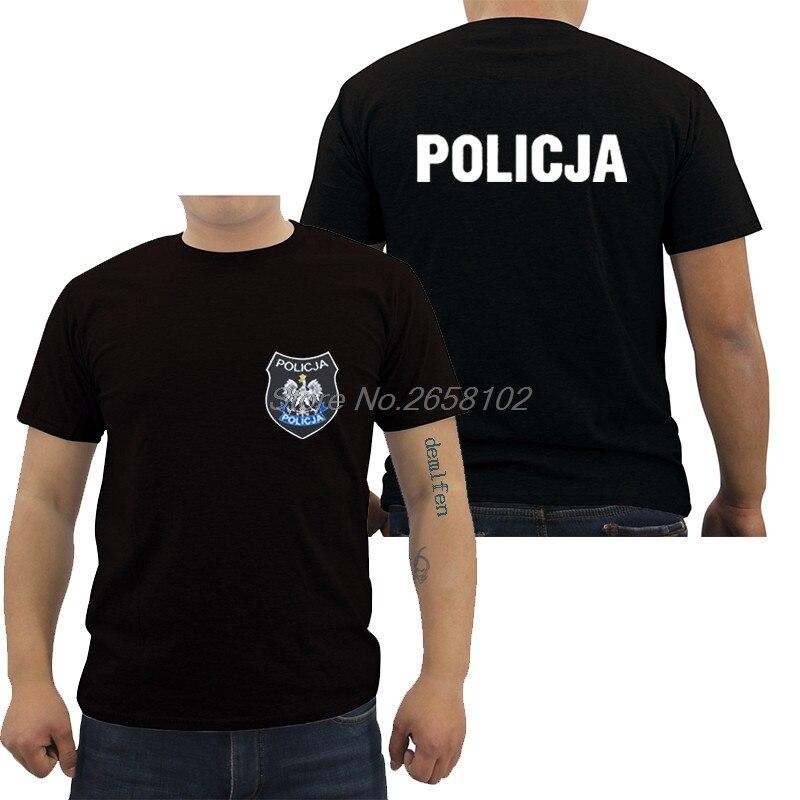 Hot Sale Fashion Poland Polish Police Policja BOA Anti Terrorist Pirotechnik Black Shirt Male Cotton Tee Harajuku Shirt
